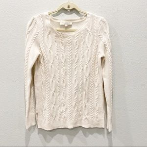 Ann Taylor LOFT Ivory Plaited Cable Knit Sweater